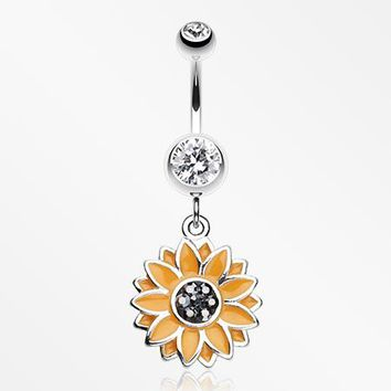 Beach Sunflower Belly Button Ring