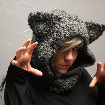 Halloween Special: Wolf Hooded Crocheted Cowl Neckwarmer with Ears Made to Order