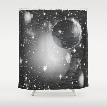 Space Pixels Shower Curtain by Ducky B
