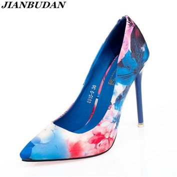 heel shoes woman platform high-heeled shoes  Fashion printing business 0L Women Shoes Sexy high-quality high-heeled female pumps