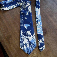 Rare Vintage Jacques Heim Silk Necktie in Off-White/Lavender/Inky Blue Silk Screen Print; Upscale Vintage Gift Tie