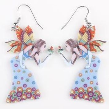 Butterfly Lovely Girls Wings Angel Drop Earrings Big Long Fairy Acrylic Earrings Fashion Jewelry For Women.