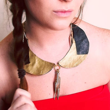 Gold and Black Spiked Peter Pan Collar by Beatniq on Etsy