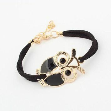 Fashion Womens Girls Vintage Owl Decoration Faux Leather Bracelets BK