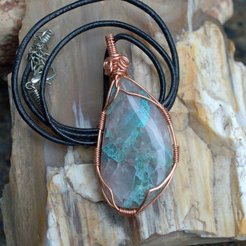 Natural Shattuckite copper wire wrapped mineral pendant spiritual stone with leather necklace