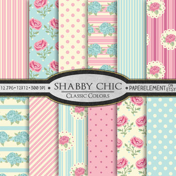 Shabby Chic Digital Paper: Printable Shabby Chic Backdrops - Roses Digital Shabby Chic Scrapbook Paper Backgrounds
