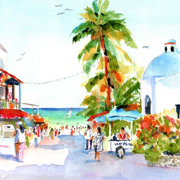 Playa Del Carmen Shops, Mexico, ORIGINAl Watercolor Landscape Painting, 8x10, 5th Avenue Church,  downtown, tropical decor, beach art