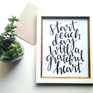 wall art prints, inspirational quote, wall art prints, wall quotes, be grateful, hand lettered print, black and white, black friday deal