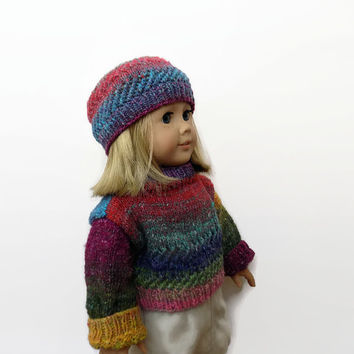 Doll Sweater and Hat Set, Knit Doll Clothes, Doll Outfit