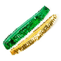 St. Patrick's Day Green and Gold Sequin Headwraps Set of 2