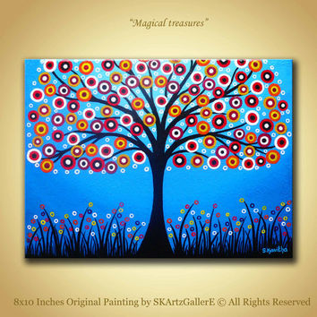 Colorful tree Artwork landscape painting Original tree art Whimsical painting Blue artwork 8x10 Canvas art  colorful circles Modern painting
