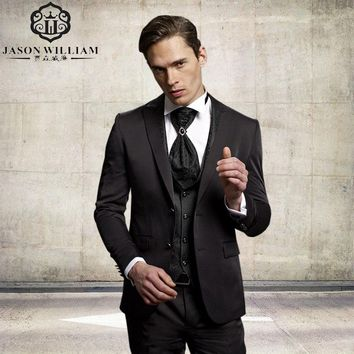 (Jacket+Pants+Tie+Vest) Custom Made Groom Tuxedo Dark Brown
