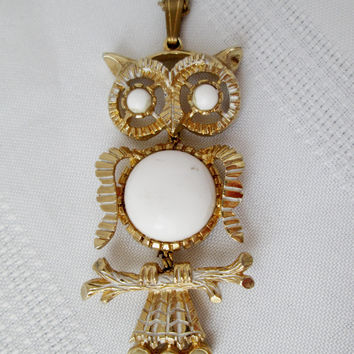 Vintage Owl Necklace Articulated Goldtone and White