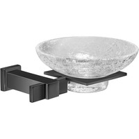 Black Wall Mounted Crackled Glass Soap Dish Holder Tray Soap Holder, Solid Brass