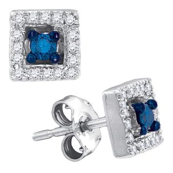 10kt White Gold Women's Round Blue Color Enhanced Diamond Square Solitaire Stud Earrings 1-5 Cttw - FREE Shipping (USA/CAN)