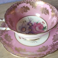 Antique bone china tea cup set, vintage Paragon pink china tea cup and saucer, English tea set, pink and gold bone china cup