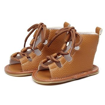 Hongteya Summer infant Gladiator sandals 10 colors Hot sale Pu leather Baby sandals child Rubber sole Lace-up Baby shoes