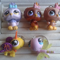 5 pc littlest pet shop owl and dragonfly  keychain keyring set - party favor lot