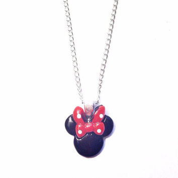 "Handmade ""Mini"" Minnie Mouse Inspired Necklace with Red Bow and Silver Chain"