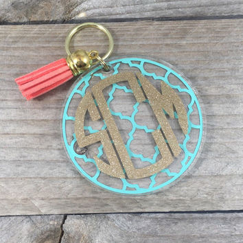 Inverted Block Monogram Keychain
