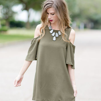 Give You the Cold Shoulder Dress - Olive