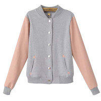 Color Block Stand Collar Jacket