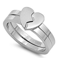 Stainless Steel Puzzles Ring - Heart - Size : 6