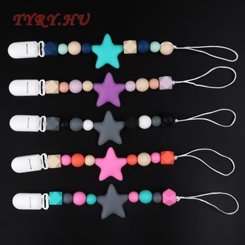 TYRY.HU Fashion Baby Chewable Silicone Beads Baby Pacifier Necklace BPA Free Holder Nursing Teethers Chew Pendants Gifts Toys