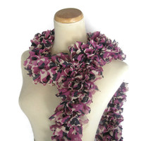 Ruffle Scarf, Hand Knit Scarf, Knit Scarf, Purple, Fuschia, Navy Blue, Fashion Scarf