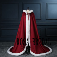 Burgundy Wedding Bridal Cloak , Burgundy with Ivory Wedding cloak, Winter Bridal Cloak Custom Color