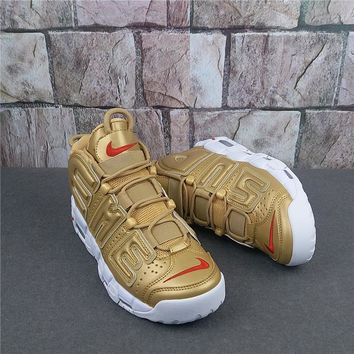 Supreme x Nike Air More Uptempo Gold Sneaker