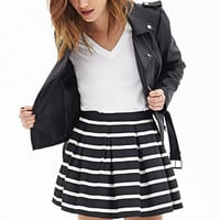 FOREVER 21 Pleated Stripe Skirt