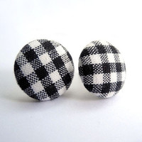 Free Shipping Gingham Black and White Earring Studs by MistyAurora