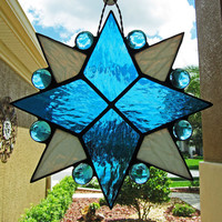 Eight Pointed Star Stained Glass Sun Catcher ~ Blue Star Sun Catcher ~ Home Decor ~ Garden Decoration
