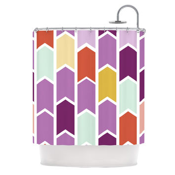 "Pellerina Design ""Orchid Geometric Chevron"" Purple Arrows Shower Curtain"