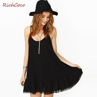 Benana Fashion Ruffle Sweep Pumping Sleeveless O-neck Chiffon Spaghetti Strap One-piece Basic Cool Dress Black Richcoco D176 - DinoDirect.com
