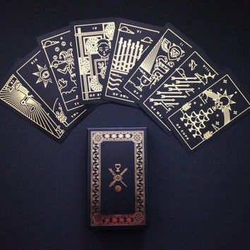 Golden Thread Tarot Deck - tarot cards, modern tarot deck, oracle cards, divination, tarot cards, minimal tarot deck