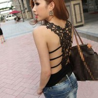 Lace Back Cut Out Vest for Women 981