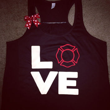 Firefighter - Love  - Maltese Cross Tank - Fire Wife Apparel - Ruffles with Love- LOVE Symbol Tank