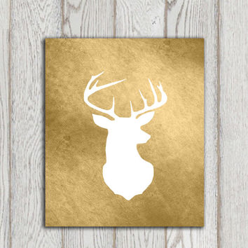Deer head printable Brown white deer print Wall art White Stag silhouette art Digital home decor Woodlands animal Forest INSTANT DOWNLOAD