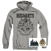 Harry Potter Hogwarts Logo Pull-Over Hoodie Sweatshirt & Exclusive Stickers