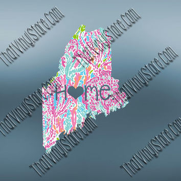 Maine Heart Home Decal | I Love Maine Decal | Homestate Decals | Love Sticker | Preppy State Sticker | Preppy State Decal | 059