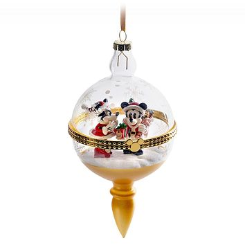 Disney Parks Turn the Century Santa Mickey Minnie Glass Droplet Ornament New