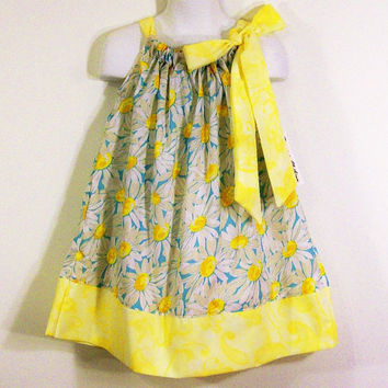Girls Pillowcase Dress-yellow Daisies-Made in the Usa---#116-