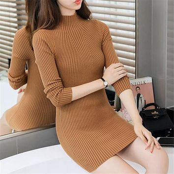 Women Turtlemeck Bodycon Winter Dress 2017 Spring Autumn Casual Long Sleeve Short Sweater Dresses Sheath Knitted Vestidos Slim