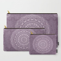 Carry-All Pouch - Lace Mandala in Lavender  - Canvas-like fabric, Travel, Pocket, Pattern, Traveler, Custom, Carry, Cosmetic, Make-up
