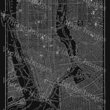 new york city manhattan street map 1910 historic black and white street map architectural blueprint style