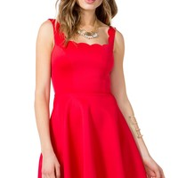 Scallop Hem Flare Dress