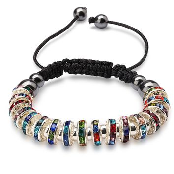 Zircon Stoppers Macrame Bracelet,UHIBROS Multicolor Crystal Unisex Adjustable Fashion Braid Bracelet Beads Braiding Bangle