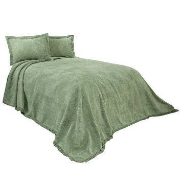 Full size Sage Green Cotton Chenille Bedspread with Fringe Edge
